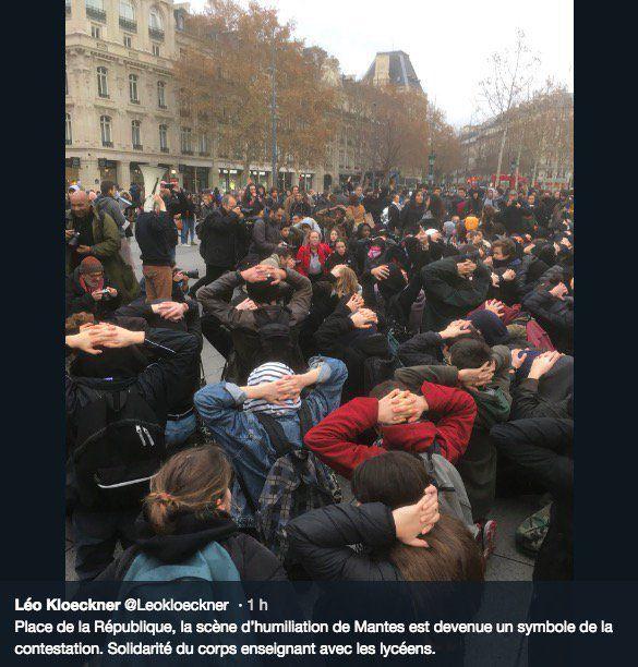 En colère, des centaines de lycéens rejouent dans plusieurs villes de France la scène d'interpellations de jeunes à Mantes-la-Jolie