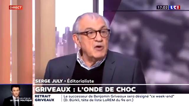 """Serge July sur LCI : """"Benjamin Griveaux est un con ! Quand on est ministre et qu'on fait ce genre de vidéo on est un con !"""""""
