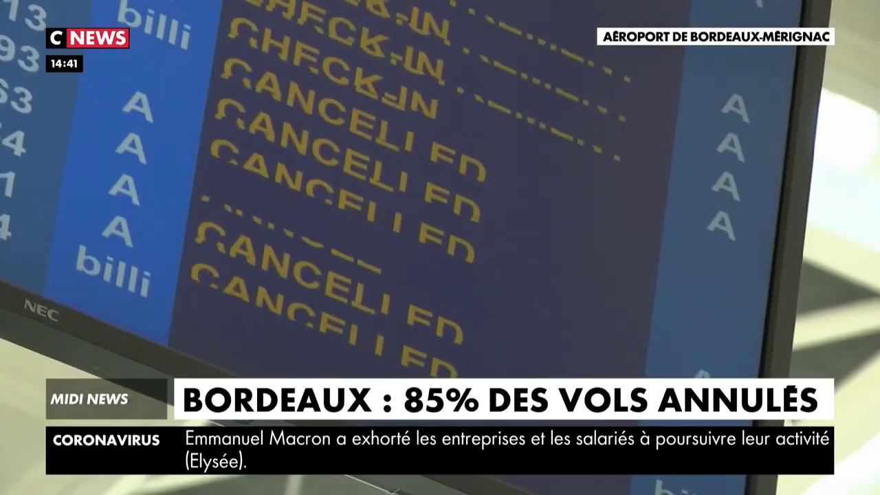 Bordeaux : 85 % des vols annulés à l'aéroport de Mérignac