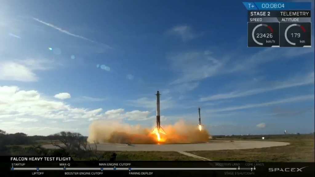 Succès de @SpaceX #FalconHeavy avec la première voiture @Tesla dans #Space grace à @elonmusk