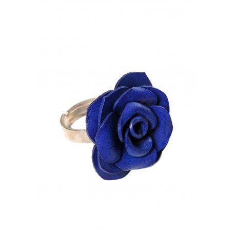 Bague réglable rose bleue en fleur de cuir