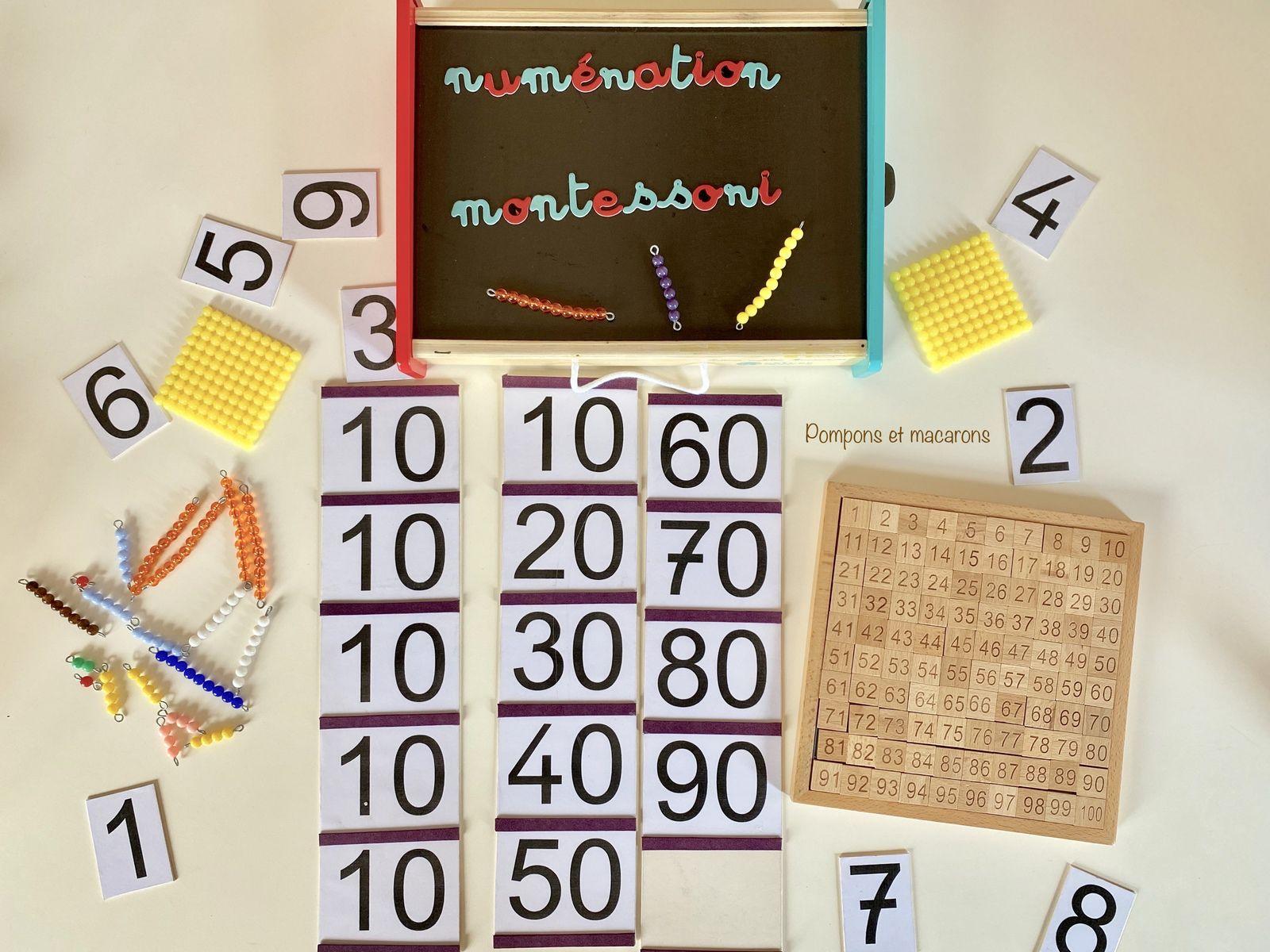 La numération jusqu'à 100 avec la méthode Montessori: Les tables de Seguin et le tableau de cent