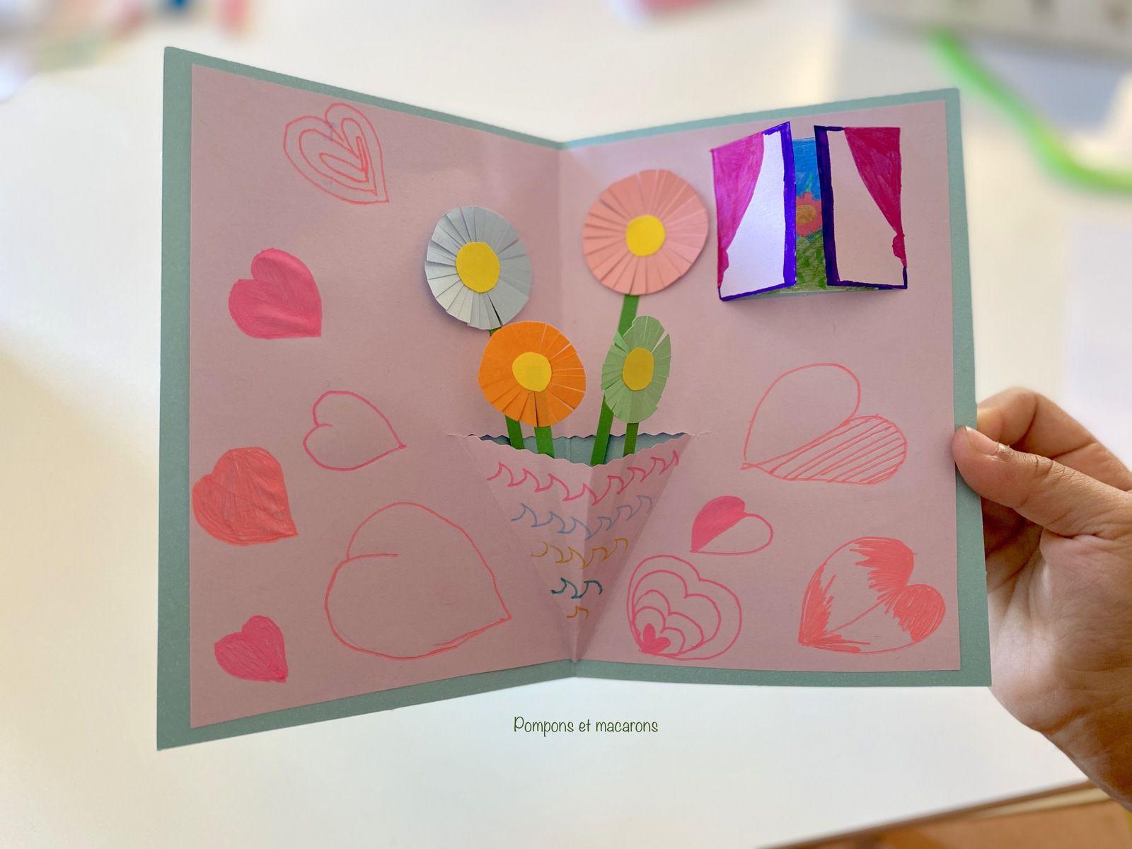 La carte Pop-up réalisée par Ninette pour l'anniversaire de sa Mamie