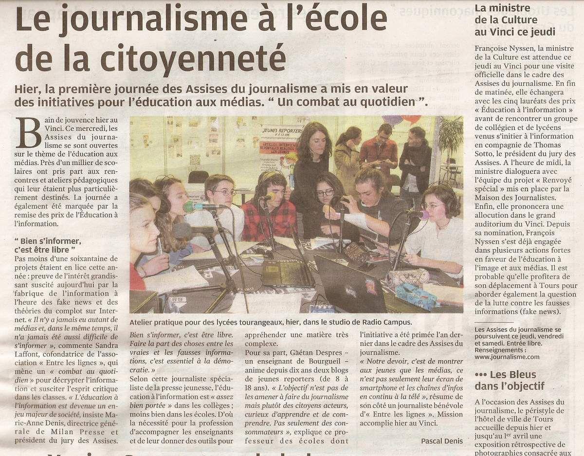 Assises 2018, Jeunes reporters en table ronde et membres jury national Education à l'information