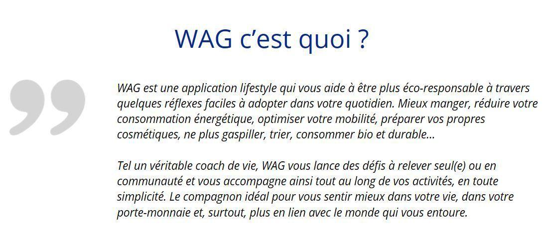 Aujourd'hui 30 octobre 2018 : après le rapport Planète Vivante du WWF, je teste WAG !