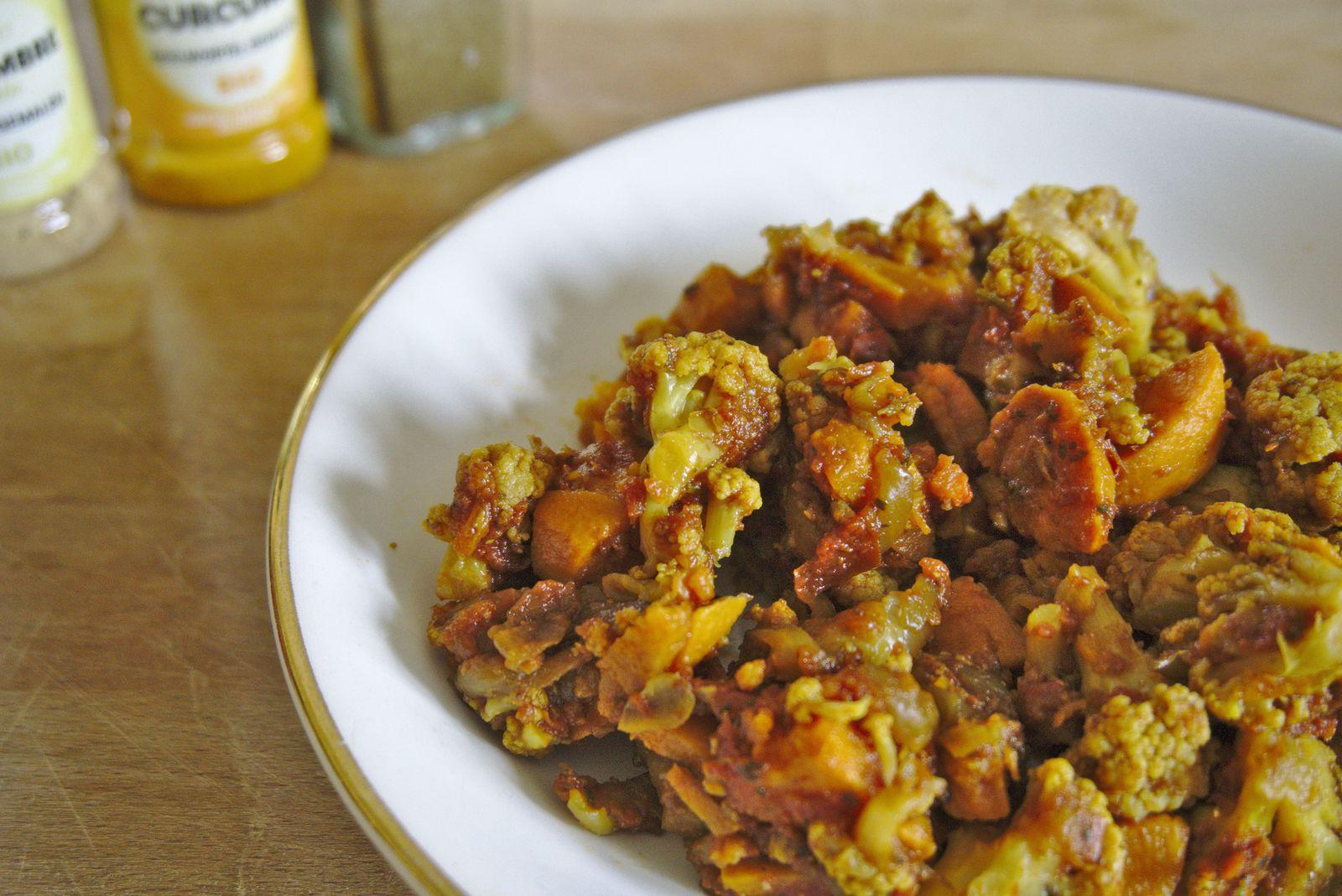Curry de chou-fleur et patate douce