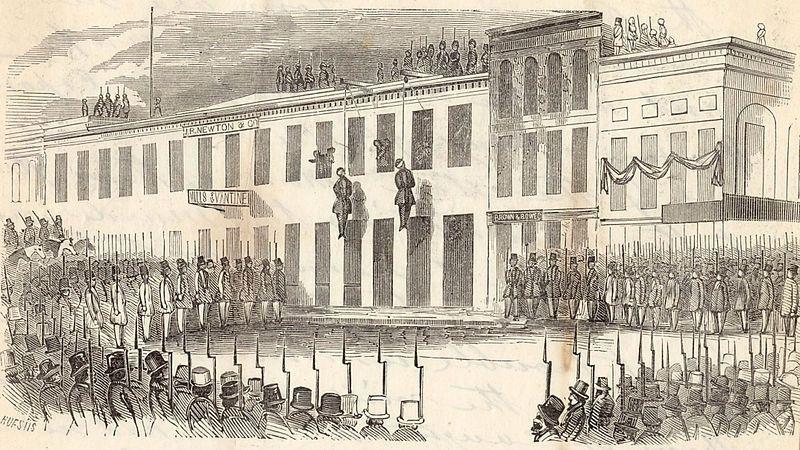 (Lynchage de James P. Casey et Charles Cora à San Francisco par un comité, image de Charles B. Huestis, 1856, content.cdlib.org, wikipedia)