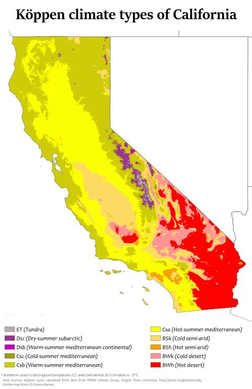 (Les climats de la Californie, image de Adam Peterson, 09/08/2016, wikipedia)