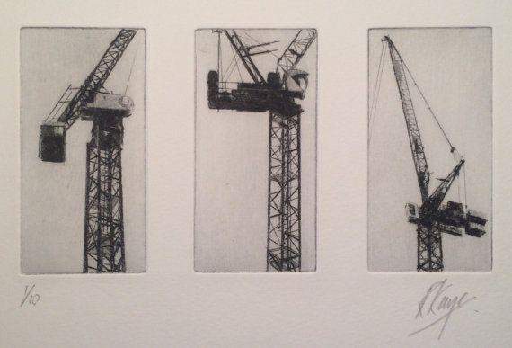 Triptyque de l'Anglais Richard Kaye. Cet artiste propose des vues industrielles.