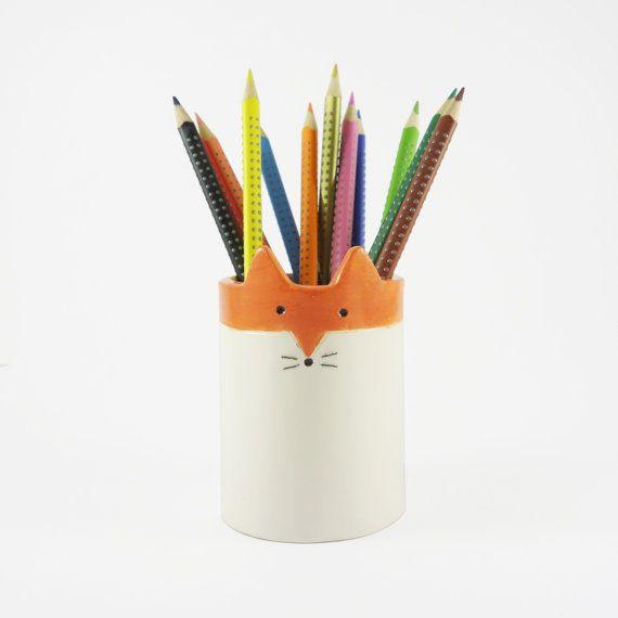 Sylhouette de renard, pot à crayons (ou petit pot à plante grasse).