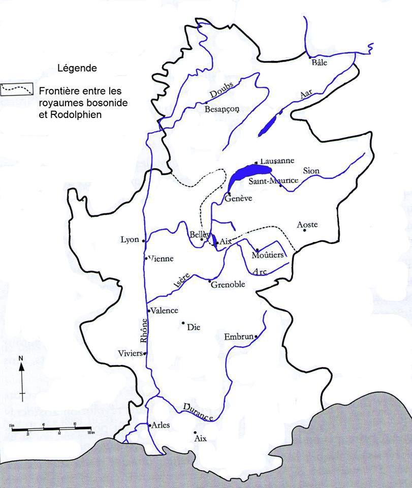 Carte du Royaume de Bourgogne ou Royaume d'Arles et de Vienne. La réforme grégorienne se situa dans nos régions dans le cadre de l'existence de ce royaume. Même si il avait été intégré au Saint-Empire-romain-germanique en 1032, c'était encore une entité qui allait survivre jusqu'au XIV e siècle (carte d'après Laurent Ripart)