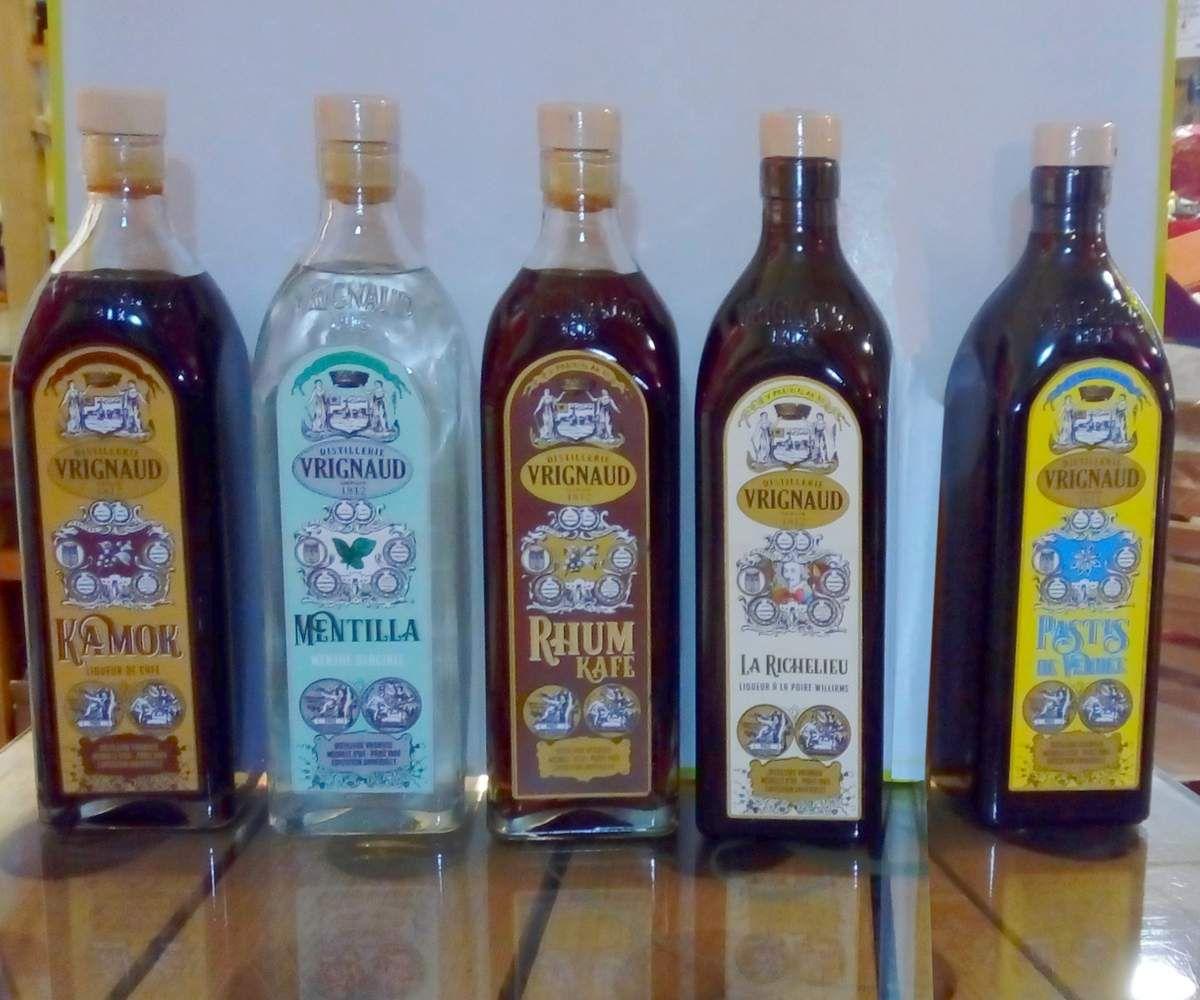 Produit de Vendée, liqueur Vrignaud, Kamok, rhum café, Mentilla, Richelieu, Pastis de Vendée