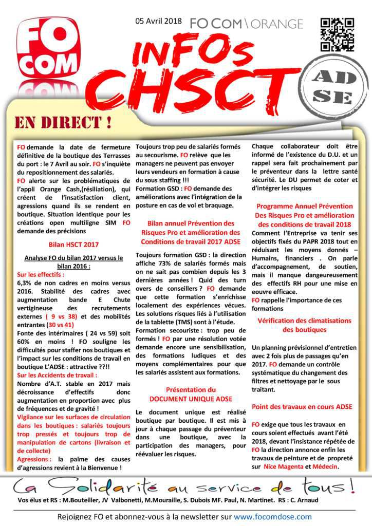 inFOs CHSCT SPECIAL AD 5 mars 2018