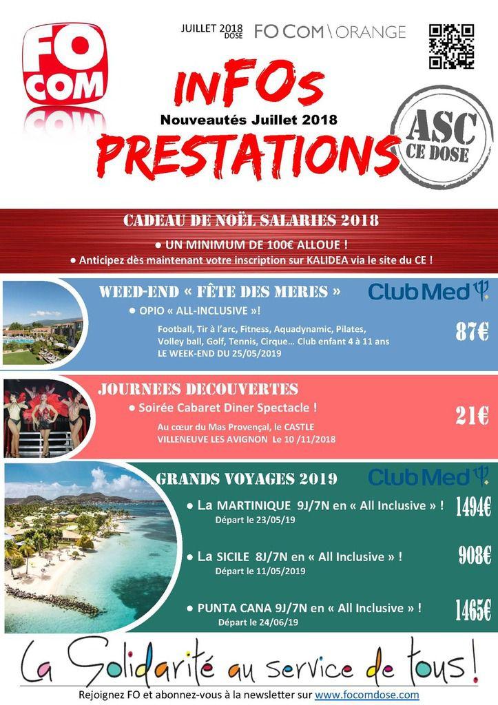 Prestations ASC Juillet 2018