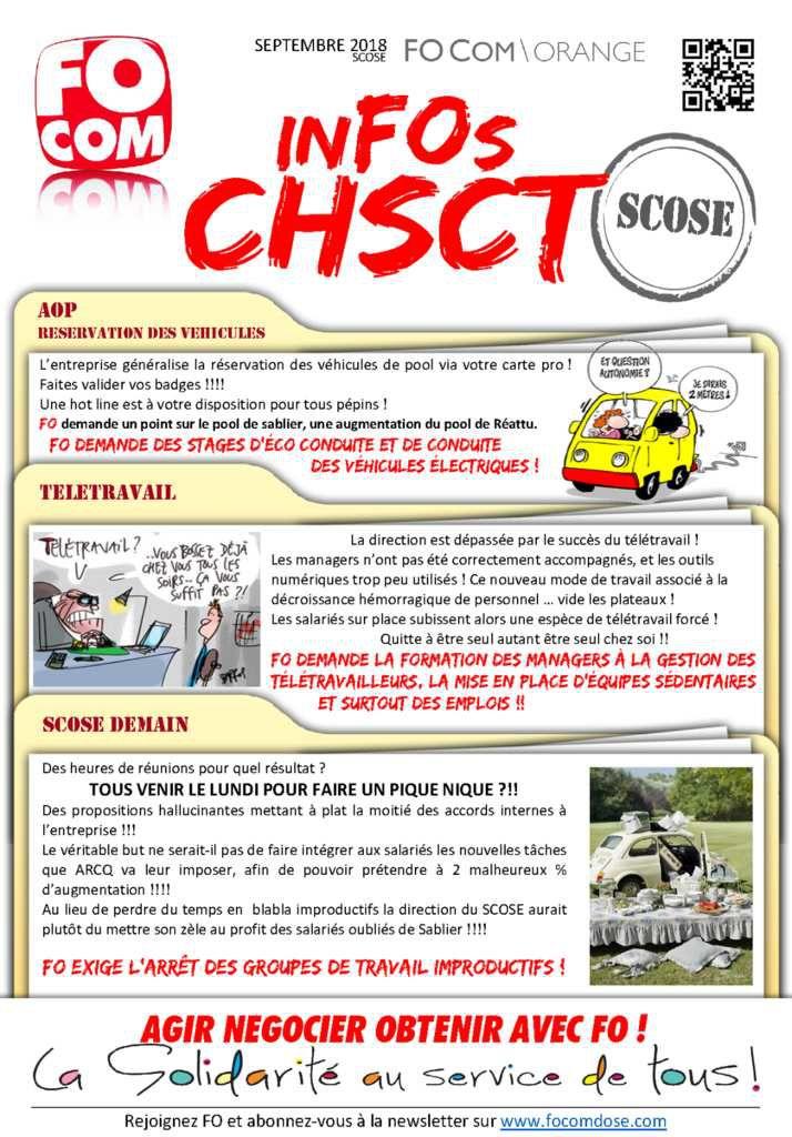 CHSCT SCOSE SEPTEMBRE 2018