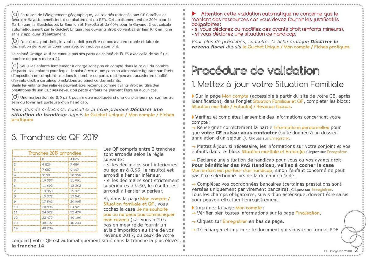 Mode opératoire de déclaration du QF 2019