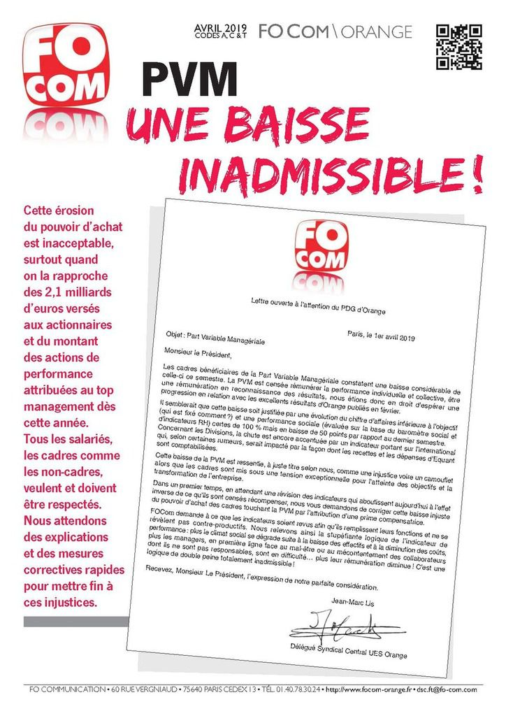 PVM : Une baisse inadmissible !!