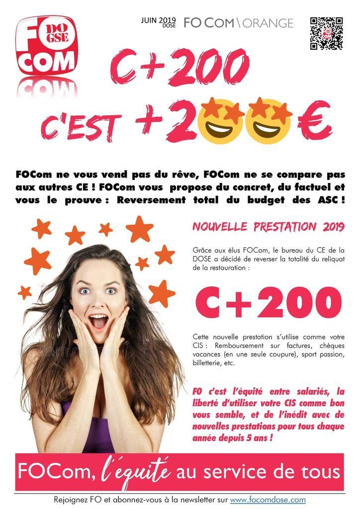 CIS+, c'est + 200€
