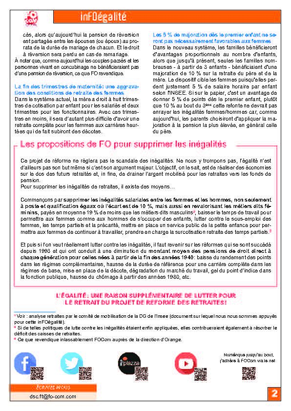 InFOs égalité  Jan 2020 « Les femmes grandes gagnantes du système universel par points » ?