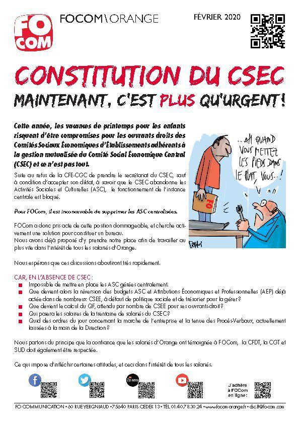 Constitution du CSEC : ATTENTION URGENCE !!!