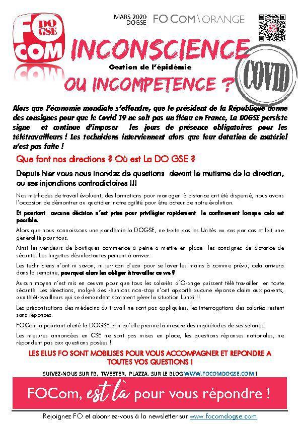 covid 19, inconscience ou incompétence ?