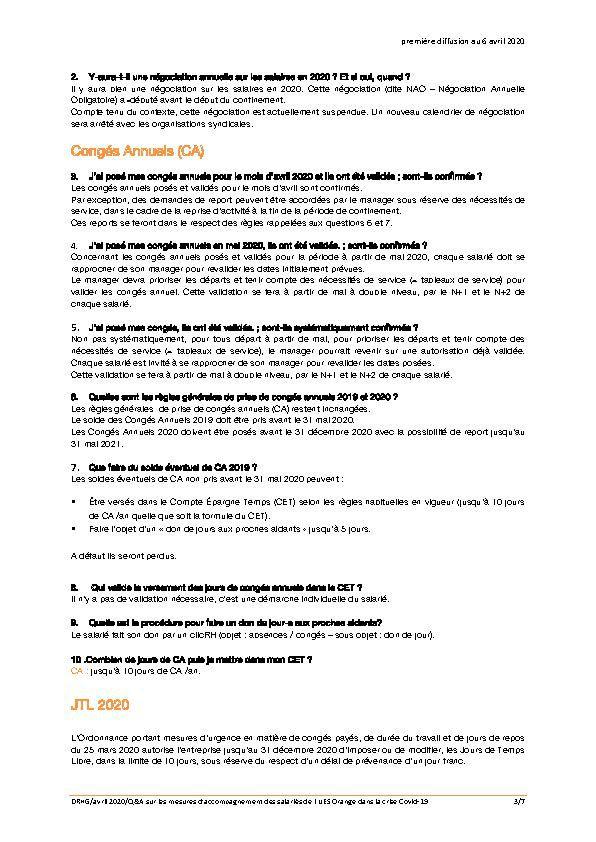 InFOs Actu Lundi  6 Avril 2020, Mesures prises par Orange