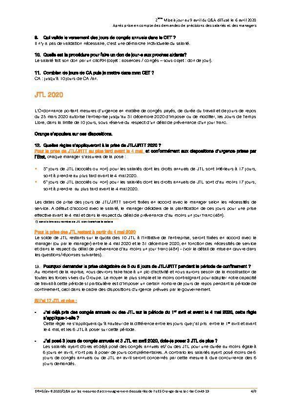 Note RH du 6 et Mise à jour des Q/R mesures unilatérales Orange Q21 à 28 et Q3 !