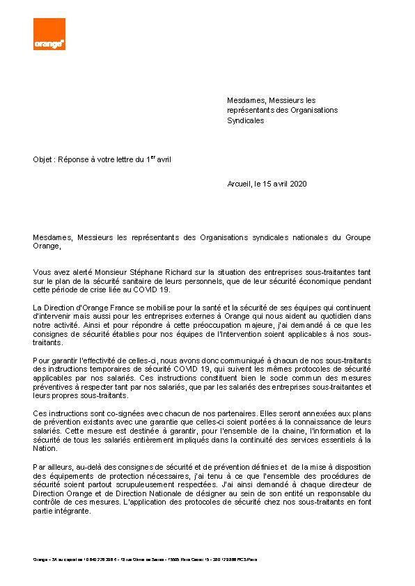 Réponse de la direction au courrier intersyndical envoyé le 1er avril