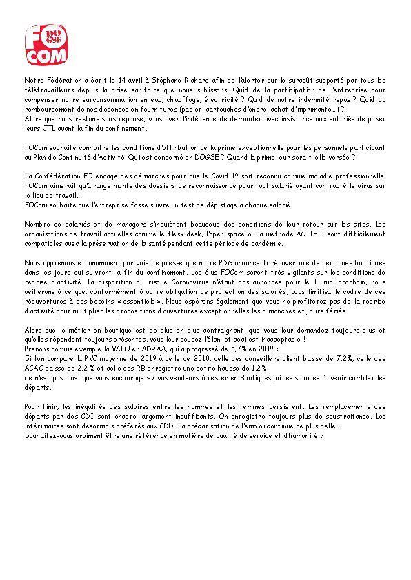 Déclaration préalabre FOCom CSE DOGSE 22 avril 2020