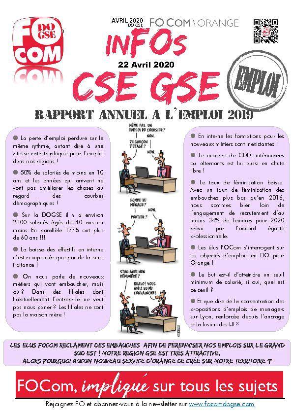 InFOs CSE DO GSE Avril 2020 Spécial Emploi