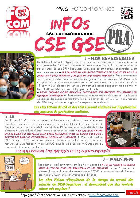InFOs CSE DOGSE Plan de Reprise d'Activité Mai 2020