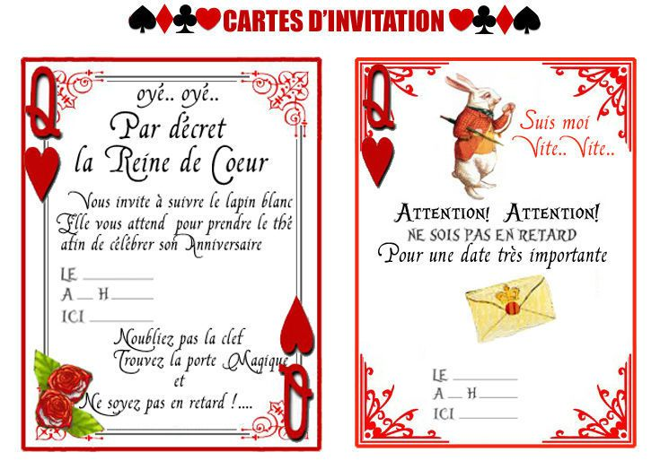 cartes d 39 invitation pour f ter son anniversaire sur le th me d 39 alice aux pays des merveilles. Black Bedroom Furniture Sets. Home Design Ideas
