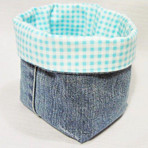 Tuto couture : Réaliser des paniers en jean récup , en suivant son pas à pas en images gratuits !