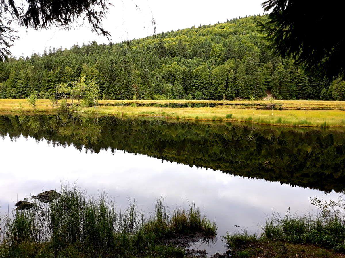 Le lac de Lispach, la Tenine, vue vers la Bresse et le Ballon d'Alsace, le refuge de la Croix Claudé