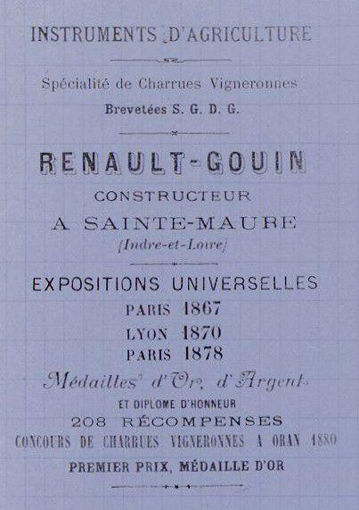 Louis RENAULT-GOUIN (1828-1891)Constructeur d'instruments agricoles à Sainte-Maure-de-Touraine