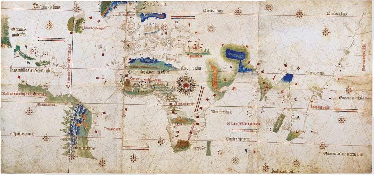 La ligne de partage sur le planisphère de Cantino (1502).