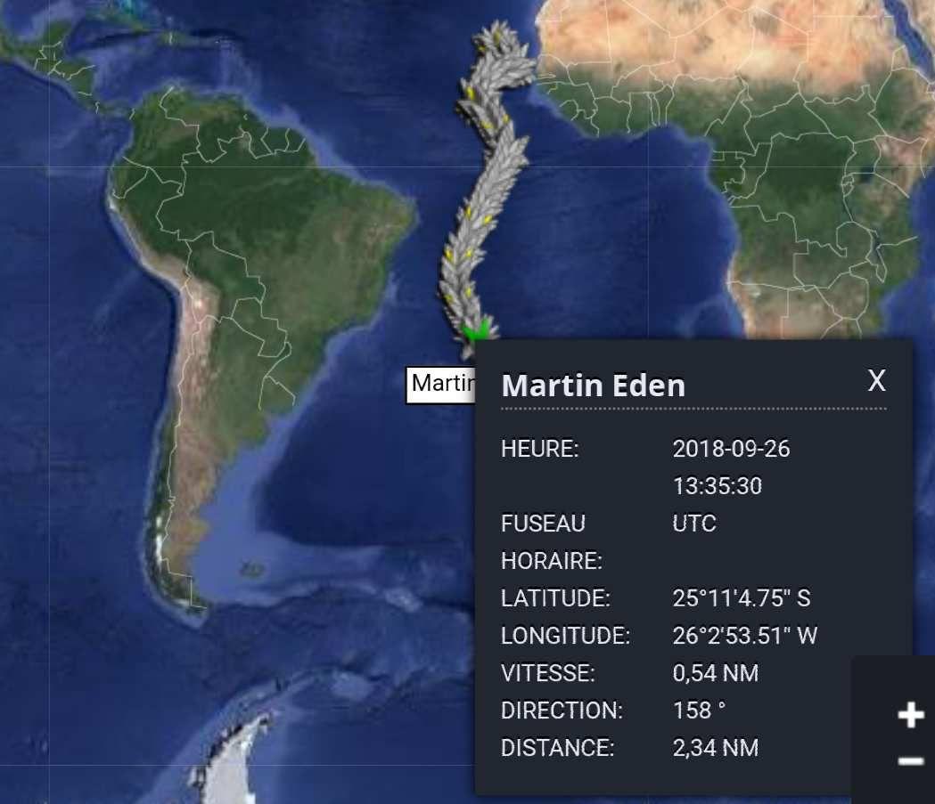 Position de Martin, ce mercredi 26 septembre.... 0,57 noeuds...2,34 MN parcourus en 4h!.....