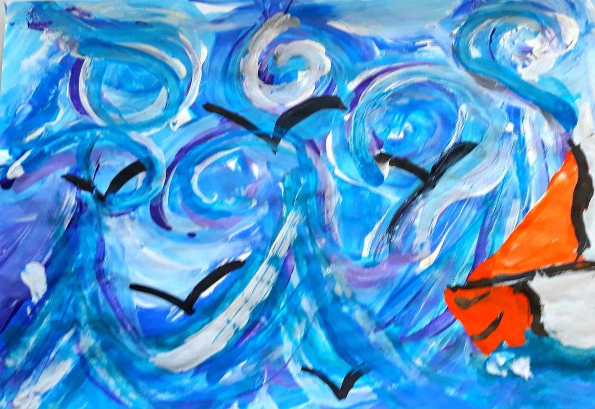 Peinture de Lilia des Anses d'Arlet: Martin dans la tempête...