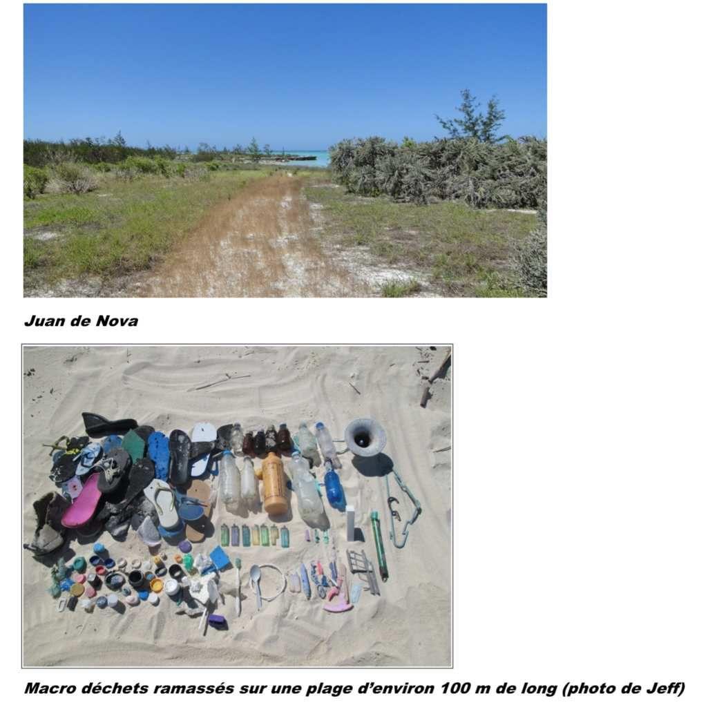 Macro déchets ramassés sur une plage d'environ 100 m de long