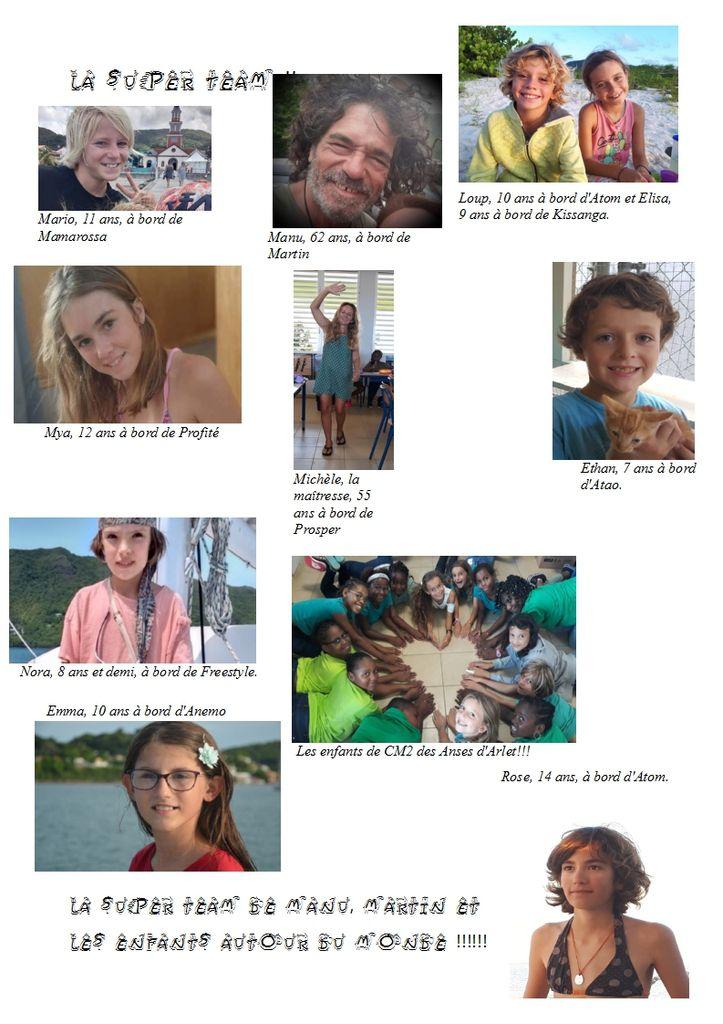 La première affiche de la Super Team de Manu, Martin et les enfants autour du monde