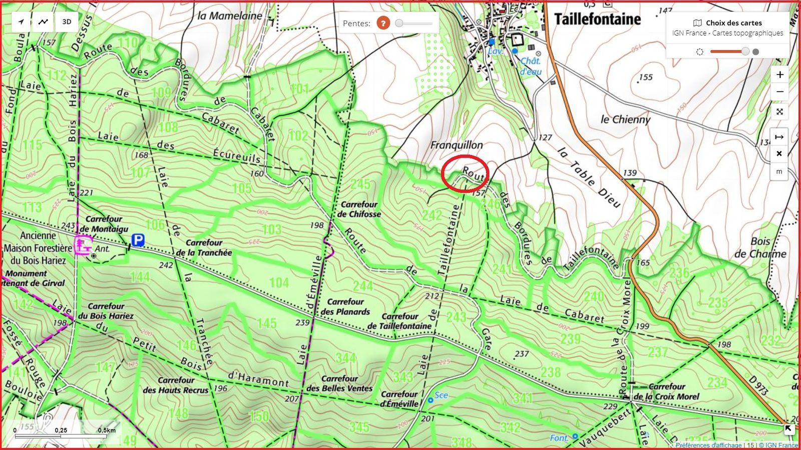carrefour_Route des Bordures de Taillefontaine_Laie de Taillefontaine