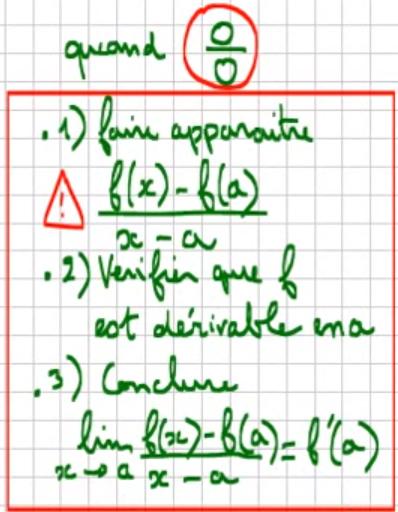 TERMINALE S - Déterminer une limite de fonction du type 0/0 en utilisant la dérivation
