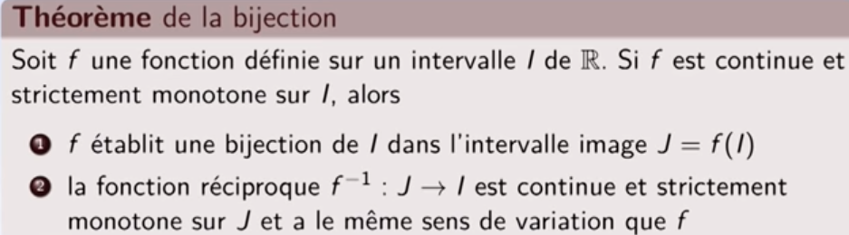 PREPA MATHS - Le théorème de la bijection