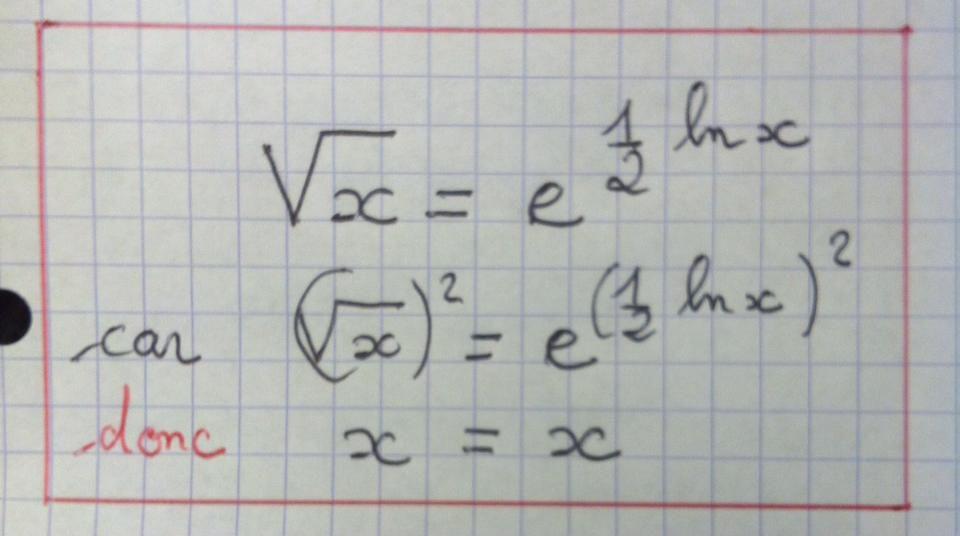 TERMINALE S - Exponentielle , logarithme népérien et racine carrée (formule à connaître)