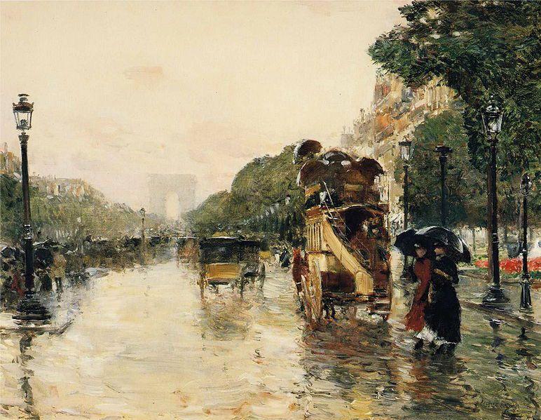 Frederick Childe Hassam (1859-1935), Pluie sur les Champs-Élysées, 1889. Berry-Hill Galleries, New York