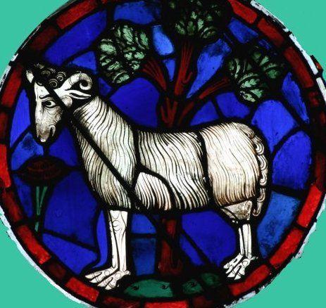 Vitrail de la rose ouest de Notre-Dame de Paris (1220).