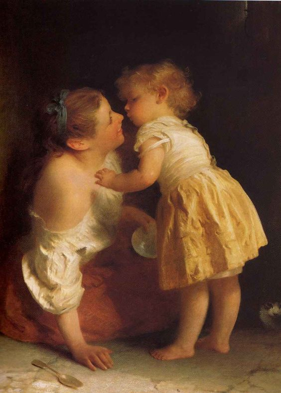 John Morgan (1822-1885), artiste anglais, peintre de genre. Un moment d'affection.