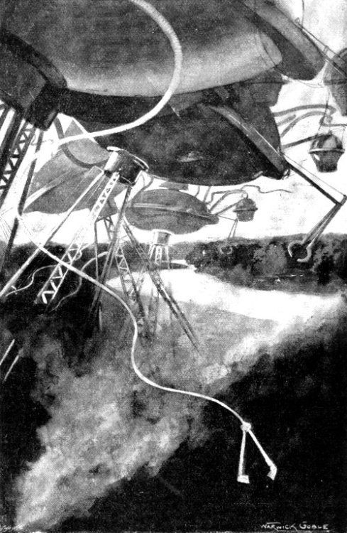 Illustration riche d'anticipation, signée Warwick Goble, pour la Guerre des Mondes