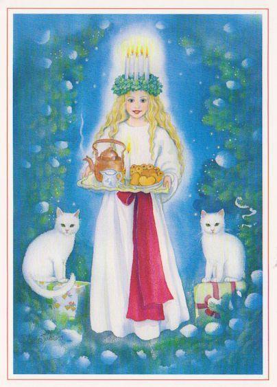 Lucie et les chats blancs, émanations sacrées des chats qui accompagnaient la grande déesse Freya, la déesse nordique de l'Amour et des Plaisirs...