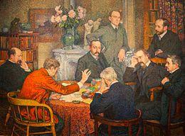 La Lecture (1903) par Théo van Rysselberghe. Émile Verhaeren porte une veste rouge.